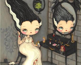 Frankenstein Print Tattooed Bride Of Frankenstein Art Cockroach Rat Art Reflection in the Mirror