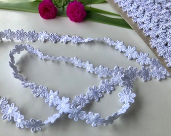 White Floral Cotton Lace, white lace trim, white trim by the yard, Sewing trim, 1.2 cms wide, thin lace, ships free with other item