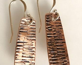 Copper textured drop earrings