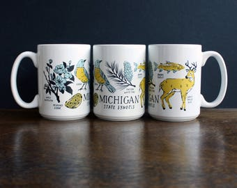 Michigan State Symbols Ceramic Mug