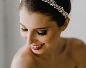Pearl Bridal Headband | Silver Pearl Headpiece | Pearl Bridal Hair Piece | Silver Headband | Bridal Headpiece | Silver Adelaide Headband