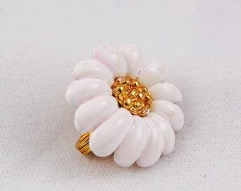 Vintage Monet White Flower Single Clip On Earring