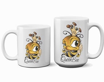 Ceramic Mug Queen Bee Mug Statement Mug Motivational Mug Bees Mug Funny Coffee Mug Unique Princess Bee Lover MOM Mother Coffee Cup