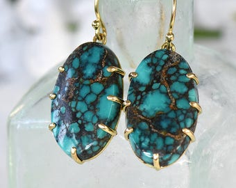 Spiderweb Turquoise Earrings in Ethical 18k Gold