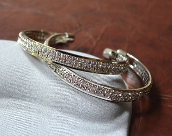 Bangle silver bracelet rhinestone Crystal Bangle Bridal jewelry elegant wedding gift engagement mother's day birthday Valentine's day