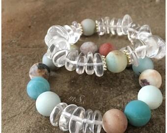 Amazonite and Clear Quartz Gemstone Bracelets - Set -  Earth Tones - Stretch - Boho - Bracelets - mSs Designs - Zen Bracelet - Boho Style