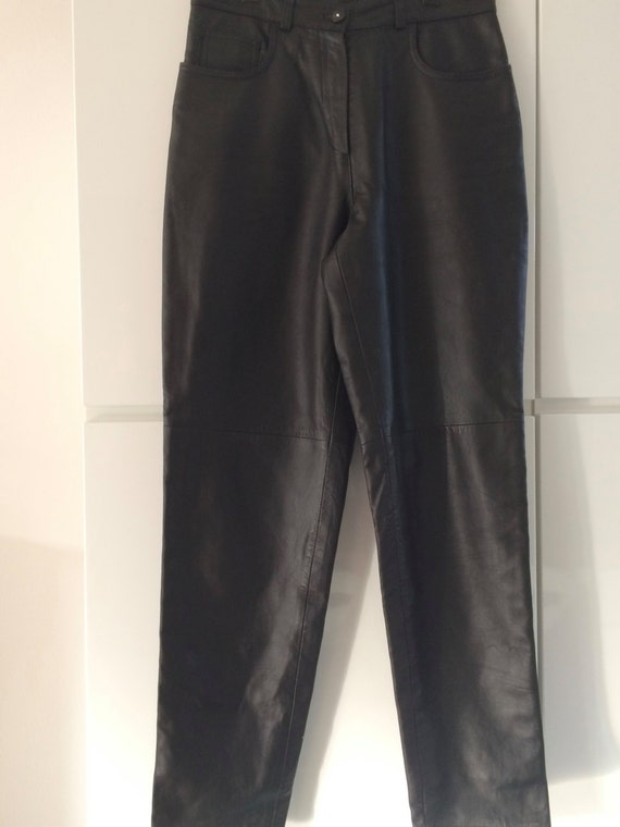 Vintage highwaist Dija black leather pant trouser, size M