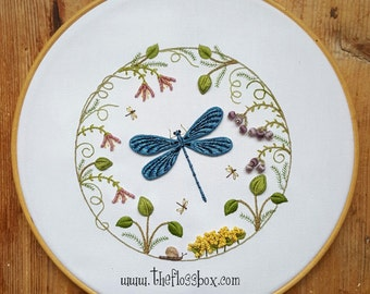 Dragonfly Wreath Embroidery pattern for stumpwork or surface embroidery
