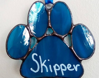 Stained Glass Paw Prints-Personalized