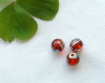 Set of 10 glass round 12mm red NET Silver Blue COSMIC beads