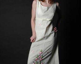 Vintage Filipino Tesoro's Embroidered Cream Dress, vintage embroidery dress, long sleeveless white dress