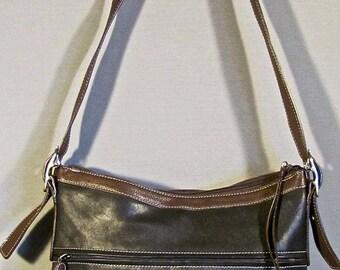 Vintage TIGNANELLO BLACK Cross Body leather bag messenger/cross body/purse brown strap/trim