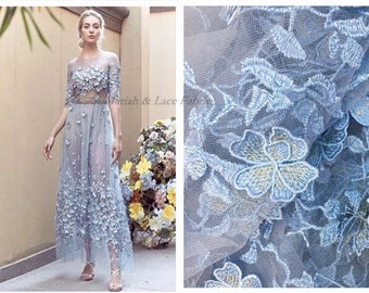 3D Embroidery Lace Fabric, 5colors Flower Tulle Bridal Lace Fabic, Guipure French Lace Fabric For Wedding Dress