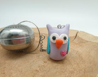 Polymer clay OWL tea ball
