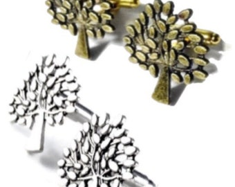Men's Silver Tree Cufflinks, Handcrafted Nature Forest Cuff Links- Prom Wedding Groom Guys Gift