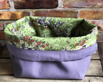 Lavender Dragonfly Wildflower Knit & Crochet Canvas Cotton Project Bag
