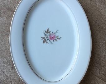 Vintage Noritake China Serving Platter Floral Design with Silver Trim