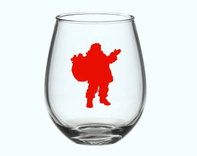 Santa Decal. Christmas Decor Silhouette of Santa Claus Decal. DIY Decal for Tumblers, Mugs, Wine Glass, and more.