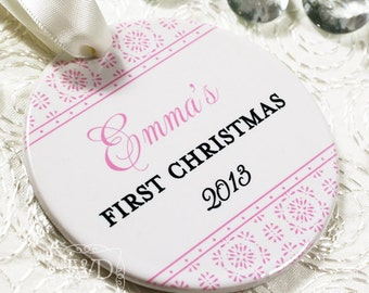 My First Christmas Personalized Baby First Christmas Ornament Newborn First Christmas  -  Crystalline Pattern - Item# CRY-B1-O