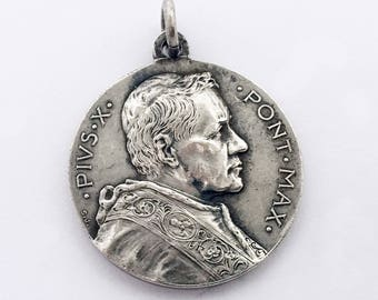 Antique Vatican Holy Medal Pope Pius X Madonna with Child Mater Bonorum Studiorum Pendant Good Mother Teacher Religious Medal