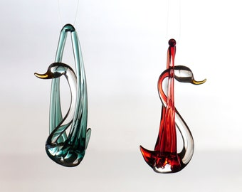 Large Hand Blown Glass Swan Ornament