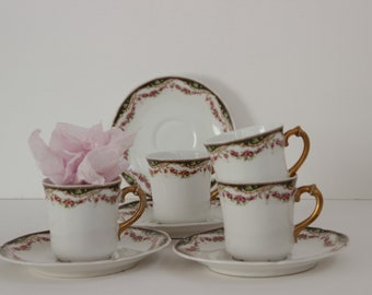 Antique coffee service Limoges Porcelain.Coffee cups Limoges.Antique coffee cups.