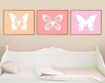 Butterfly Print Set, Butterfly Wall Art, Butterfly Wall Decor, Baby Girl Nursery, Girls Room Decor, Nature Home Decor, Butterfly Art Prints