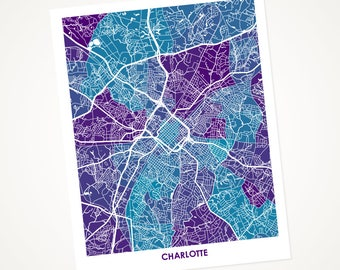 Charlotte Map Print.  Choose the Colors and Size.  Perfect for your favorite Panther or University of North Carolina- C Grad.