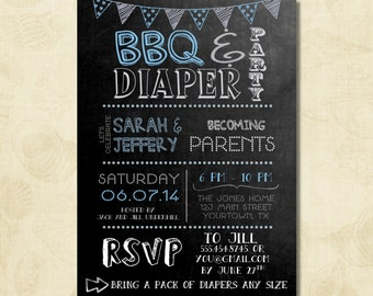 BBQ and Diaper Party Invitation Pink Baby Girl Shower
