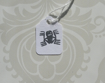 Whimsical Halloween hang tag Spider Smiles mini pre-strung tag black and white set of twenty five
