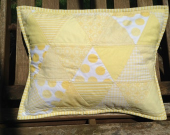 Sweet Light Yellow Triangle Baby Quilted Pillow Cover