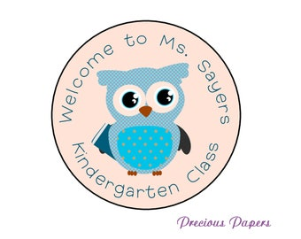 Personalized PRINTED owl classroom stickers back to school stickers classroom library stickers