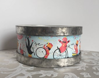Vintage Tin Litho Toy Drum 1950's 1960's Chein Lithograph Mid Century Children's Toy Repaired  Refurbished Big Top Grand March Circus Parade
