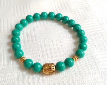 Turquoise Bracelet, Jasper Bracelet, Buddha bracelet, buddha, Gemstone Bracelet, Stone Bracelet, Elastic Beaded Bracelet