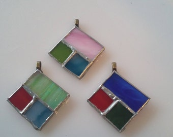 stained glass pendant with silver chain