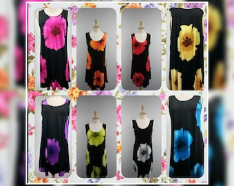 Sleeveless Short Dress Style Black with Poppy Flower  703 Item 113