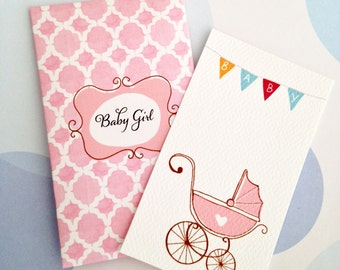 Baby Gift Enclosure Card and Envelope, Baby Shower Card, Set of 10