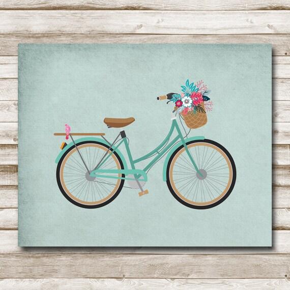 Bicycle Home Decor: Vintage Bicycle Printable Home Decor 5x7 8x10 11x14 16x20 Aqua