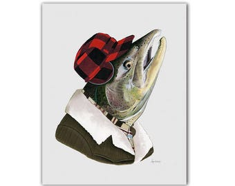 Salmon art print - Animal Art - Ryan Berkley Illustration - Dapper Animals - Animals in Clothes - Nursery Art - Man Cave - 11x14