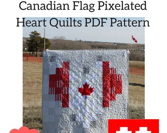 Canadian Flag Pixelated Heart Quilts PDF Quilt Pattern, Canada Day, Canada 150, Canadian Quilt Pattern, Heart Canada Pattern, Easy Quilt
