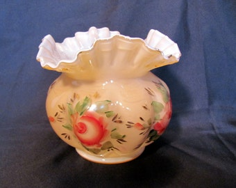 Fenton Charleton Vase with Hand Painted Roses and Ruffled Top Gold Guild Trim / Fenton Rose Overlay Hand Painted Vase