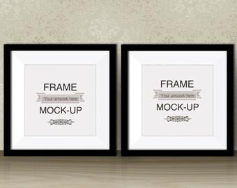Two black frames, square digital frame, artwork mockup, double poster mockup, art print stock photo, 10 x 10, 12 x 12, instant download