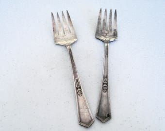 Rogers AA La Touraine 1920 Set Of Two Serving Forks