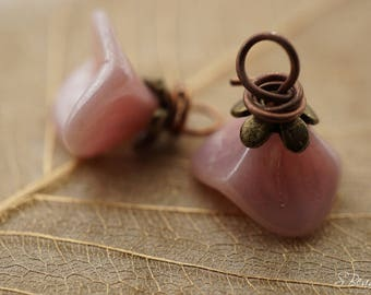 Silky Pink Wildflower, Flower Charms, Findings, Czech Beads, N1866