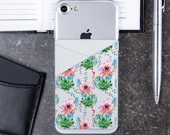 Flowers Print Leather Pocket Sticker Pocket Tropical Print Phone Pocket Wallet Cell Phone Pocket Floral iPhone Credit Card Holder CL6173