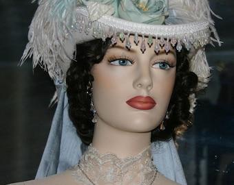Ivory & Aqua Kentucky Derby Hat, SASS Hat, Victorian Hat, Riding Hat, Wedding Hat - Spirit of Matawan