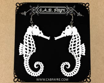 READY MADE SALE - Seahorse Earrings - White Seahorse - Laser Cut Acrylic Seahorse Earrings