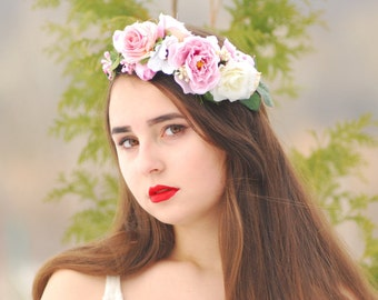Flower Crown in Pink  Bridal flower crown woodland wedding  Flowergirl hairpiece wedding hair accessory Wedding Crown Purple flower