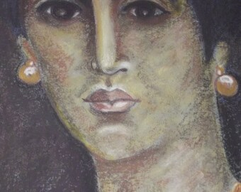 beautiful portrait of woman with a fresco in Pompeii
