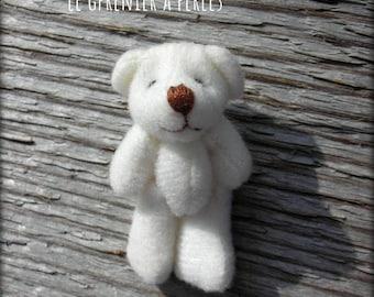 Teddy bear plush white 4 x 2 cm